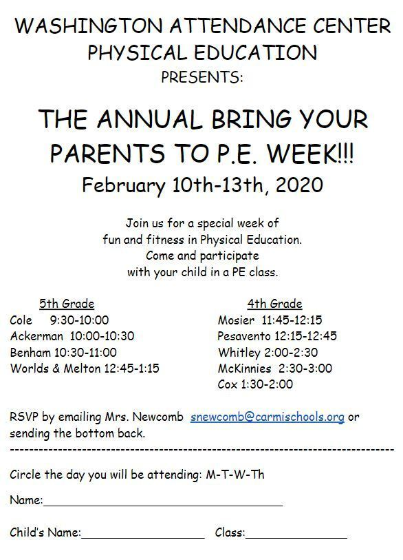 Bring Your Parent to PE Week!