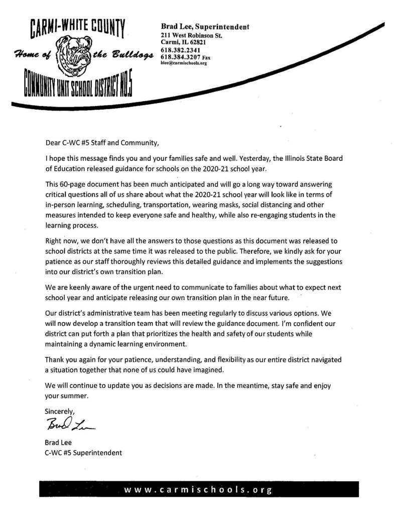 Letter from Superintendent Brad Lee regarding the Illinois State Board of Education's reopening guidelines for schools on CWC Letterhead